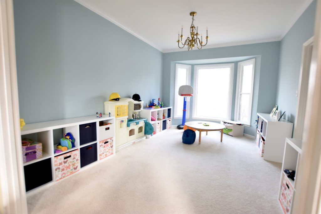 Here Is The New Playroom With Benjamin Moore S Gossamer On Walls